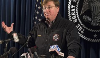 Mississippi Gov. Tate Reeves holds a press conference on Thursday, Jan. 23, 2020, in Jackson, Miss., to discuss updates in the management and maintenance of correctional facilities currently under the supervision of the Mississippi Department of Corrections. Reeves said he has visited the Parchman and Walnut Grove facilities again in the past 24 hours. (Sarah Warnock/The Clarion-Ledger via AP)