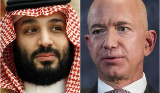 This combination of photos shows Saudi Arabia's Crown Prince Mohammed bin Salman in Jeddah, Saudi Arabia, on June 24, 2019 and Jeff Bezos, Amazon founder and CEO, in Washington, on Sept. 13, 2018. Cybersecurity experts said Thursday, Jan. 23, 2020, there are many questions still unanswered from an investigation commissioned by Bezos that said the billionaire's phone was hacked, apparently after receiving a video file with malicious spyware from the WhatsApp account of the crown prince. (AP Photo)