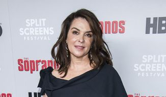 """In this Jan. 9, 2019, file photo, Annabella Sciorra attends HBO's """"The Sopranos"""" 20th anniversary at the SVA Theatre in New York. Sciorra is set to confront Harvey Weinstein at his New York City rape trial, more than a quarter-century after she says he pinned her to a bed and raped her. She is expected to testify Thursday, Jan. 23, 2020. (Photo by Charles Sykes/Invision/AP, File)"""