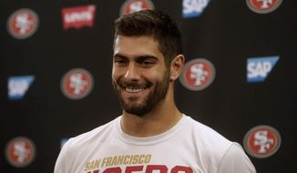 San Francisco 49ers quarterback Jimmy Garoppolo speaks during a news conference at the team's NFL football training facility in Santa Clara, Calif., Thursday, Jan. 23, 2020. The 49ers will face the Kansas City Chiefs in Super Bowl 54. (AP Photo/Jeff Chiu)
