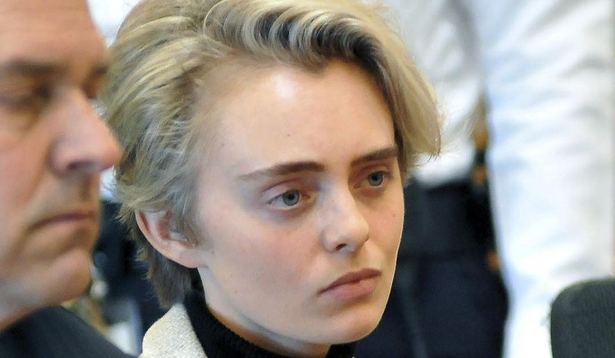 In this Feb. 11, 2019, file photo, Michelle Carter sits in Taunton District Court for sentencing in Taunton, Mass. Carter, convicted of manslaughter for urging her suicidal boyfriend to kill himself in 2014, is expected to be released sometime, Thursday, Jan. 23, 2020, from the Bristol County jail in Dartmouth, Mass. (Mark Stockwell/The Sun Chronicle via AP, Pool, File)