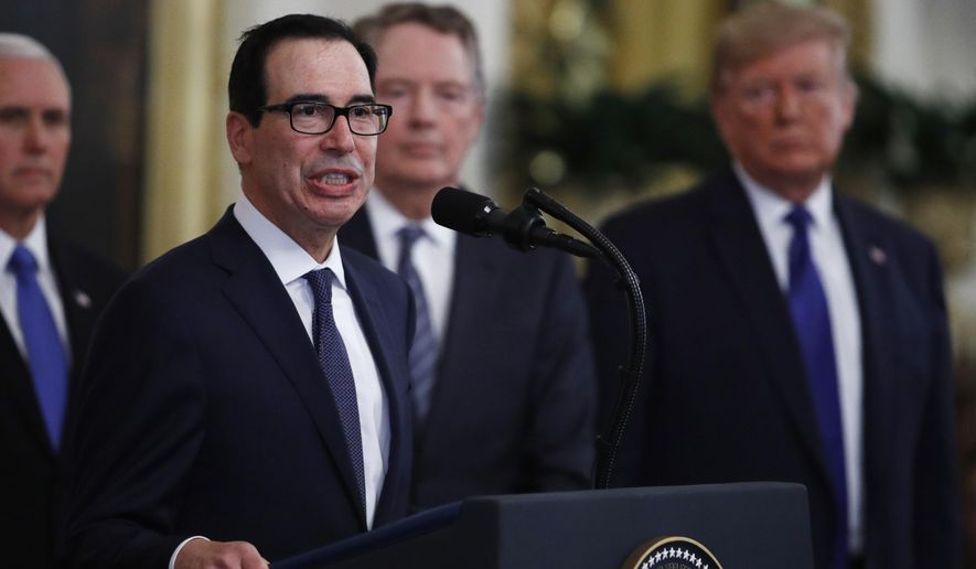 "Secretary of Treasury Steven Mnuchin, at podium, speaks as U.S. Trade Representative Robert Lighthizer, back second from right and President Donald Trump, right, listen during a signing ceremony for ""phase one"" of a U.S.-China trade agreement, in the East Room of the White House, Wednesday, Jan. 15, 2020, in Washington. (AP Photo/Steve Helber)"