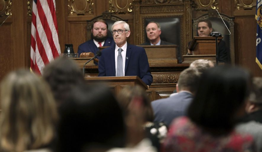 Wisconsin Gov. Tony Evers delivers his State of the State Address in the Assembly Chambers at the Wisconsin State Capitol in Madison, Wis., Wednesday, Jan. 22, 2020. (Amber Arnold/Wisconsin State Journal via AP)