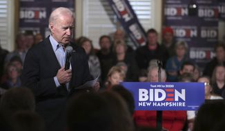 Democratic presidential candidate former Vice President Joe Biden addresses a gathering during a campaign stop in Claremont, N.H., Friday, Jan. 24, 2020. (AP Photo/Charles Krupa)