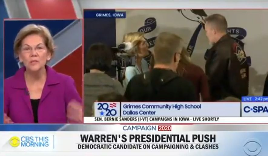 Presidential hopeful Elizabeth Warren defends a recent confrontation with a man on the campaign trail, Jan. 24, 2020. The Massachusetts senator said that her college loan forgiveness plan is something akin to the creation of social security. (Image: CBS This Morning video screenshot)