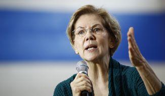 In this Jan. 19, 2020 file photo, Democratic presidential candidate Sen. Elizabeth Warren, D-Mass., speaks during a campaign event, in Des Moines, Iowa. (AP Photo/Patrick Semansky, File)