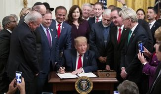 President Donald Trump pauses while signing H.R. 2476, Securing American Nonprofit Organizations Against Terrorism Act of 2019, with a bipartisan group of the nation's mayors in the East Room of the White House, Friday, Jan. 24, 2020, in Washington. (AP Photo/Alex Brandon) **FILE**