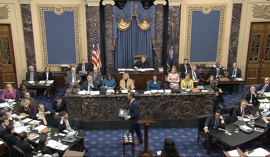 In this image from video, House impeachment manager Rep. Adam Schiff, D-Calif., walks from the podium as the Democrats finishing presenting their case during the impeachment trial against President Donald Trump in the Senate at the U.S. Capitol in Washington, Friday, Jan. 24, 2020. (Senate Television via AP)