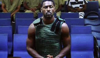 NFL free agent Antonio Brown appears at the Broward County Courthouse in Fort Lauderdale, Fla., via video link  Friday, Jan. 24, 2020. Brown was granted bail on Friday after spending the night in a Florida jail. The wide receiver will have to pay a bond of $110,000, surrender his passport, wear a monitor, get mental health evaluation and pass random drug tests. He also can't have guns. Brown is accused of attacking the driver of a moving truck that carried some of his possessions from California. (Amy Beth Bennett/South Florida Sun Sentinel via AP, Pool)