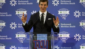 New York Giants NFL football quarterback Eli Manning announces his retirement on Friday, Jan. 24, 2020, in East Rutherford, N.J. (AP Photo/Adam Hunger)