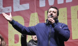Matteo Salvini of the League speaks to supporters during a campaign event in Bibbiano, Emilia-Romagna, Italy, on Thursday, Jan. 23, 2020. (Stefano Cavicchi/LaPresse via AP)