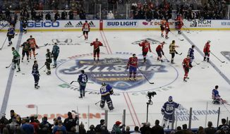 Players warm up before the Skills Competition, part of the NHL All-Star weekend, Friday, Jan. 24, 2020, in St. Louis. (AP Photo/Jeff Roberson)