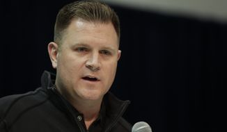 File-This Feb. 27, 2019, file photo shows Green Bay Packers general manager Brian Gutekunst speaking during a press conference at the NFL football scouting combine in Indianapolis. The Packers reached the NFC Championship game despite some serious deficiencies that were laid bare in the loss to San Francisco. Gutekunst has some holes to fill or at least some questions to answer as the offseason arrives. (AP Photo/Michael Conroy, File)