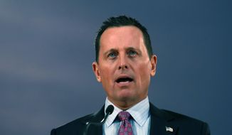 U.S. President Donald Trump's envoy for the Kosovo-Serbia dialogue, Ambassador Richard Grenell speaks during a press conference after a meeting with Serbian President Aleksandar Vucic in Belgrade, Serbia, Friday, Jan. 24, 2020. (AP Photo/Darko Vojinovic) ** FILE **
