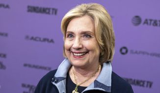 """Hillary Clinton attends the premiere of """"Hillary"""" at The Ray Theatre during the 2020 Sundance Film Festival on Saturday, Jan. 25, 2020, in Park City, Utah. (Photo by Charles Sykes/Invision/AP) ** FILE **"""