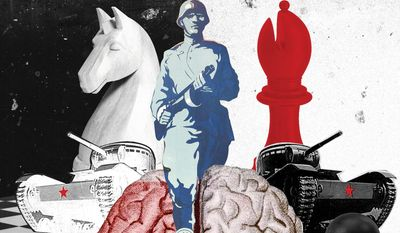 Illustration on cultural memory in Russia by Linas Garsys/The Washington Times