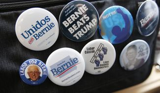 Buttons in support of Democratic presidential candidate Sen. Bernie Sanders, I-Vt., are pictured on a bag during a canvass launch Saturday, Jan. 25, 2020, in Cedar Rapids, Iowa. (AP Photo/Sue Ogrocki)