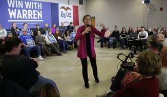 Democratic presidential candidate Sen. Elizabeth Warren, D-Mass., speaks during a town hall meeting Saturday, Jan. 25, 2020, in Muscatine, Iowa. (AP Photo/Sue Ogrocki)