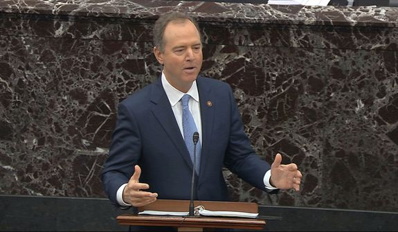 In this  Jan. 24, 2020, file image from video, House impeachment manager Rep. Adam Schiff, D-Calif., speaks during the impeachment trial against President Donald Trump in the Senate at the U.S. Capitol in Washington. The seven House Democratic impeachment managers have used long speeches to explain why President Donald Trump should be removed from office. Republican senators sitting through their chamber's trial largely considered Democrats' arguments tedious and unpersuasive. (Senate Television via AP, File) **FILE**