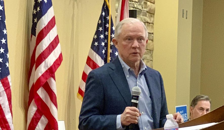 In this Jan. 11, 2020, photo, former U.S. Attorney General Jeff Sessions speaks to the Mid Alabama Republican Club in Vestavia Hills, Alabama. Sessions is stressing his loyalty to President Donald Trump as he seeks to regain the Alabama Senate seat he held for 20 years. (AP Photo/Kim Chandler)