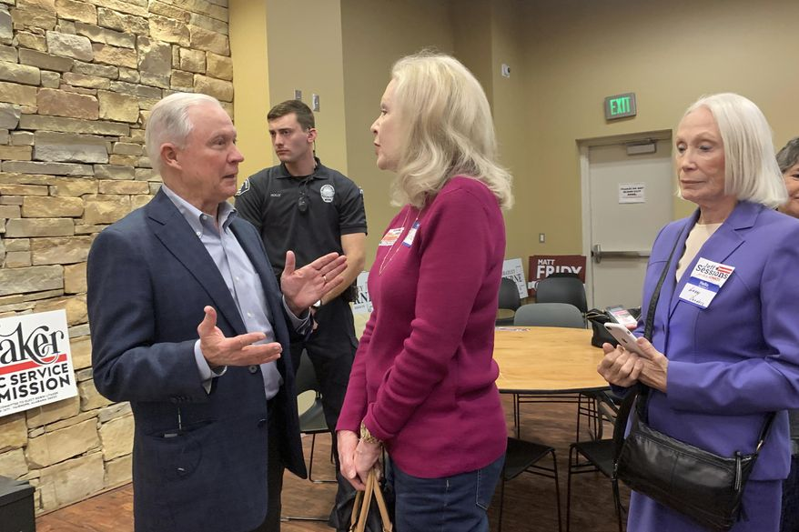 In this Jan. 11, 2020 photo, former U.S. Attorney General Jeff Sessions speaks to supporters at the Mid Alabama Republican Club in Vestavia Hills, Ala.. Sessions is stressing his loyalty to President Donald Trump as he seeks to regain the Alabama Senate seat he held for 20 years. (AP Photo/Kim Chandler) **FILE**