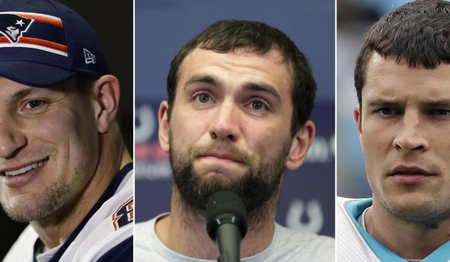 FILE - At left, in a Jan. 30, 2019, file photo, New England Patriots' Rob Gronkowski speaks with members of the media during a news conference in Atlanta. At center, in an Aug. 24, 2019, file photo, Indianapolis Colts quarterback Andrew Luck speaks during a news conference following the team's NFL preseason football game against the Chicago Bears, in Indianapolis. At right, in an Aug. 2, 2019, file photo, Carolina Panthers' Luke Kuechly watches teammates warm up at training camp in Charlotte, N.C. Life in the NFL is short. The recent retirements of three of the game's best 30-and-under stars -- Gronkowski, Luck and Kuechly -- could be coincidence or the start of a worrisome trend. (AP Photo/File)