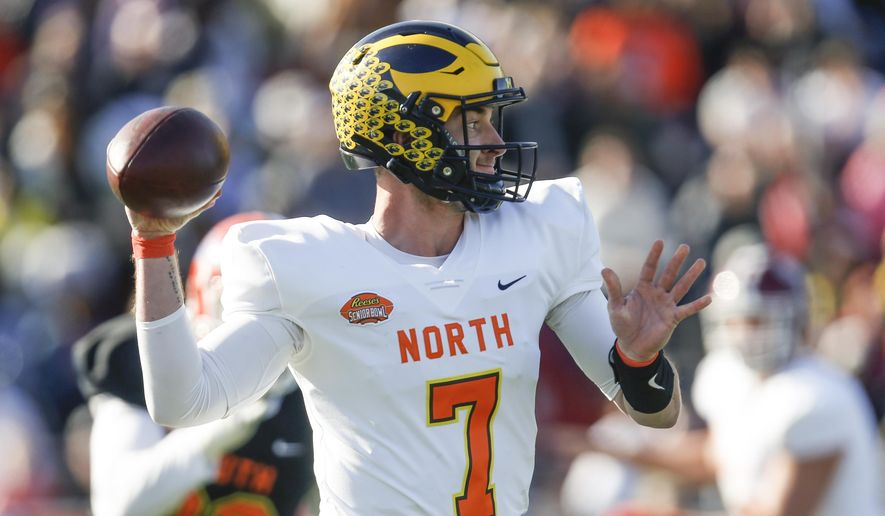 North quarterback Shea Patterson of Michigan (7) throws a pass during the first half of the Senior Bowl college football game Saturday, Jan. 25, 2020, in Mobile, Ala. (AP Photo/Butch Dill)
