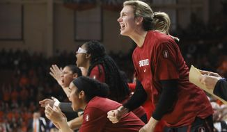 Stanford's Estella Moschkau (20) and the rest of the Stanford bench react to an official ruling during the second half of an NCAA college basketball game against Oregon State in Corvallis, Ore., Sunday, Jan. 19, 2020. (AP Photo/Amanda Loman)