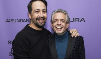"Lin-Manuel Miranda, left, and Luis Miranda attend the premiere of ""Siempre, Luis"" at the Temple Theatre during the 2020 Sundance Film Festival on Saturday, Jan. 25, 2020, in Park City, Utah. (Photo by Charles Sykes/Invision/AP)"