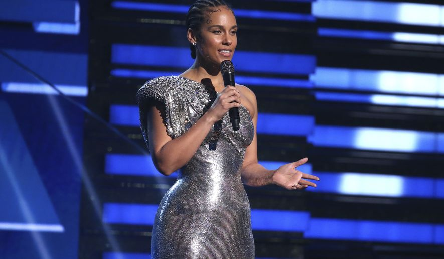 Alicia Keys speaks at the 62nd annual Grammy Awards on Sunday, Jan. 26, 2020, in Los Angeles. (Photo by Matt Sayles/Invision/AP)
