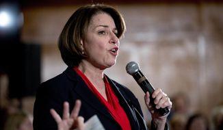 Democratic presidential candidate Sen. Amy Klobuchar, D-Minn., speaks at a campaign stop at Jethro's BBQ Steak n' Chop, Sunday, Jan. 26, 2020, in Ames, Iowa. (AP Photo/Andrew Harnik)