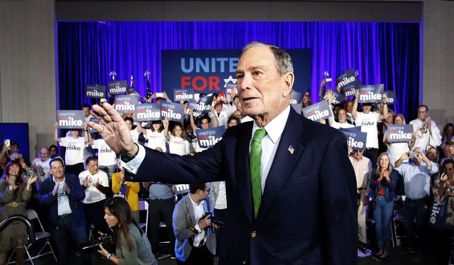 Presidential candidate, former New York mayor Michael Bloomberg greets Jewish voters on Sunday, Jan. 26, 2020 at Aventura Turnberry Jewish Center in Aventura, Fla. (Andrew Uloza/Miami Herald via AP)