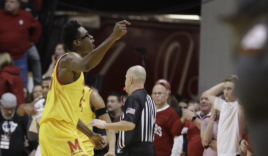 Maryland's Jalen Smith (25) celebrates after his team defeated Indiana in an NCAA college basketball game, Sunday, Jan. 26, 2020, in Bloomington, Ind. (AP Photo/Darron Cummings)