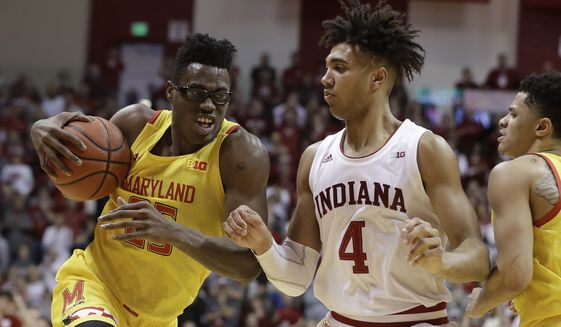 Maryland's Jalen Smith (25) goes to the basket against Indiana's Trayce Jackson-Davis (4) during the second half of an NCAA college basketball game, Sunday, Jan. 26, 2020, in Bloomington, Ind. (AP Photo/Darron Cummings) ** FILE **