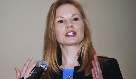 FILE - In this Jan. 14, 2019 file photo, Democratic state Auditor Nicole Galloway speaks in Jefferson City, Mo. Abortion is expected to play a key role in Missouri's 2020 gubernatorial race. Republican Gov. Mike Parson is seeking to keep his seat. Galloway wants to replace him. Parson has a big advantage over Galloway in the Republican-dominated state. (Julie Smith/The Jefferson City News-Tribune via AP,  File)