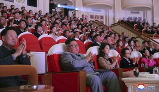 "In this Saturday, Jan. 25, 2020, photo provided by the North Korean government, North Korean leader Kim Jong Un, center, claps with his wife Ri Sol Ju, third from right, and his aunt Kim Kyong Hui, second from right, as they attend a concert celebrating Lunar New Year's Day in Pyongyang, North Korea. Independent journalists were not given access to cover the event depicted in this image distributed by the North Korean government. The content of this image is as provided and cannot be independently verified. Korean language watermark on image as provided by source reads: ""KCNA"" which is the abbreviation for Korean Central News Agency. (Korean Central News Agency/Korea News Service via AP)"