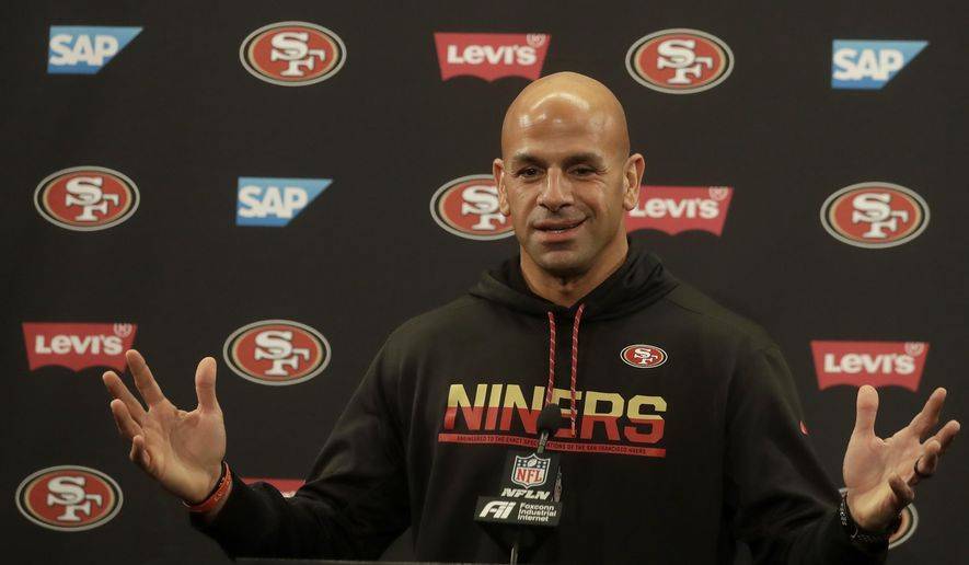 San Francisco 49ers defensive coordinator Robert Saleh speaks during a news conference at the team's NFL football training facility in Santa Clara, Calif., Thursday, Jan. 23, 2020. The 49ers will face the Kansas City Chiefs in Super Bowl 54. (AP Photo/Jeff Chiu)