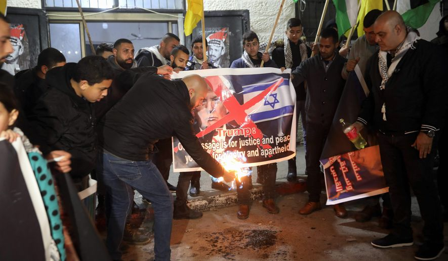 Palestinian leaders have expressed little more than outrage at the Trump administration since Mr. Trump's 2017 move of the U.S. Embassy in Israel from Tel Aviv to Jerusalem, a contested city between the Palestinians and the Israelis. (ASSOCIATED PRESS)