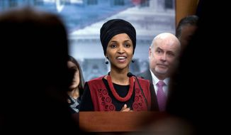 Rep. Ilhan Omar, Minnesota Democrat, faces several challengers for her seat this November. One is Dalia al-Aqidi, a Muslim refugee from Iraq. (Associated Press)