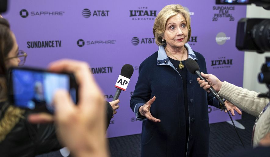 "Hillary Clinton attends the premiere of ""Hillary"" at The Ray Theatre during the 2020 Sundance Film Festival on Saturday, Jan. 25, 2020, in Park City, Utah. (Photo by Charles Sykes/Invision/AP)"