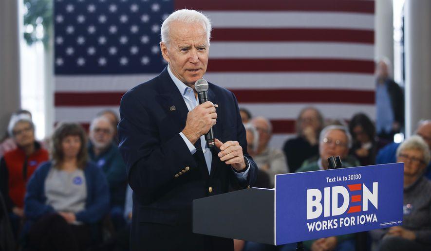Democratic presidential candidate former Vice President Joe Biden speaks during a campaign event at the University of Northern Iowa, Monday, Jan. 27, 2020, in Cedar Falls, Iowa. (AP Photo/Matt Rourke)