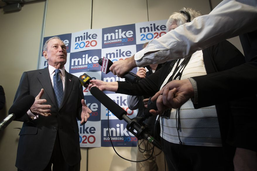 Democratic presidential candidate former New York City Mayor Michael Bloomberg speaks to reporters after a campaign event, Monday, Jan. 27, 2020, in Burlington, Vt. (AP Photo/Mary Altaffer)
