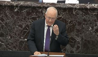 In this image from video, Ken Starr, an attorney for President Donald Trump, speaks during the impeachment trial against Trump in the Senate at the U.S. Capitol in Washington, Monday, Jan. 27, 2020. (Senate Television via AP)