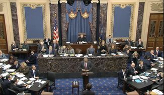 In this image from video, Eric Herschmann, an attorney for President Donald Trump, speaks during the impeachment trial against Trump in the Senate at the U.S. Capitol in Washington, Monday, Jan. 27, 2020. (Senate Television via AP)