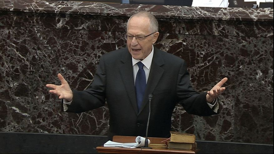 In this image from video, Alan Dershowitz, an attorney for President Donald Trump, speaks during the impeachment trial against Trump in the Senate at the U.S. Capitol in Washington, Monday, Jan. 27, 2020. (Senate Television via AP)