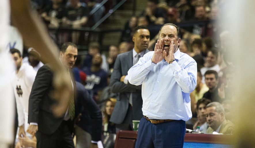 Notre Dame head coach Mike Brey shouts instructions late in the second half of an NCAA college basketball game against Florida State in Tallahassee, Fla., Saturday, Jan. 25, 2020. Florida State defeated Notre Dame 85-84. (AP Photo/Mark Wallheiser)