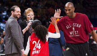 In this Feb. 14, 2016, file photo, Los Angeles Lakers Kobe Bryant (24) high-fives his daughter Gianna on the court in warm-ups before first half NBA All-Star Game basketball action in Toronto. Bryant, his 13-year-old daughter, Gianna, and several others are dead after their helicopter went down in Southern California on Sunday, Jan. 26, 2020. (Mark Blinch/The Canadian Press via AP)  **FILE**
