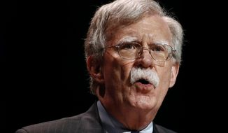 In this July 8, 2019, file photo, national security adviser John Bolton speaks at the Christians United for Israel's annual summit, in Washington.  A single paper copy in a nondescript envelope arrived at the White House on Dec. 30. Four weeks later, news of John Bolton's book manuscript about his time as President Donald Trump's national security adviser has exploded into public view, sending a jolt through the president's impeachment trial. (AP Photo/Patrick Semansky, File)