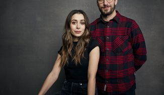 """Cristin Milioti, left, and Andy Samberg pose for a portrait to promote the film """"Palm Springs"""" at the Music Lodge during the Sundance Film Festival on Saturday, Jan. 25, 2020, in Park City, Utah. (Photo by Taylor Jewell/Invision/AP)"""