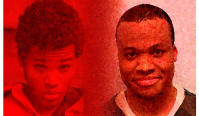 Illustration on Lee Boyd Malvo in 2002 and 2019 (The Washington Times)